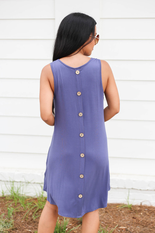 Navy - Sleeveless Button Back Dress Back View