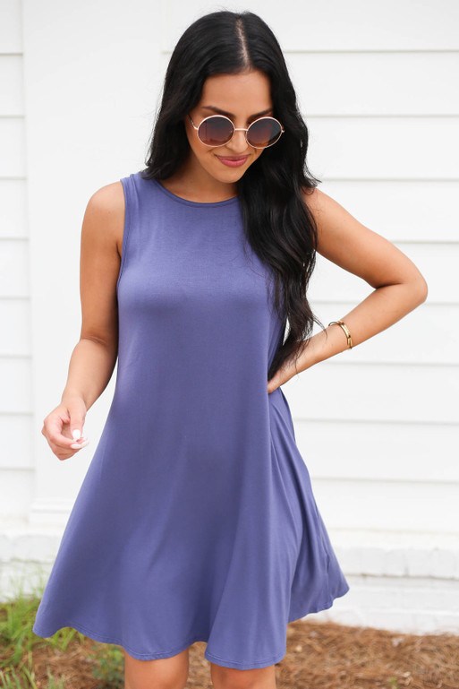 Navy - Sleeveless Button Back Dress