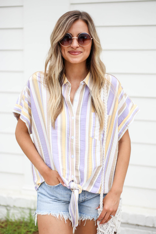 Multi - Striped Tie Front Button Up Top
