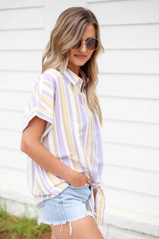 Multi - Striped Tie Front Button Up Top Side View