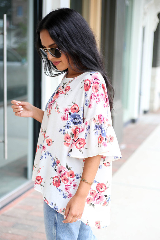 Ivory - Floral Ruffle Sleeve Top Side View