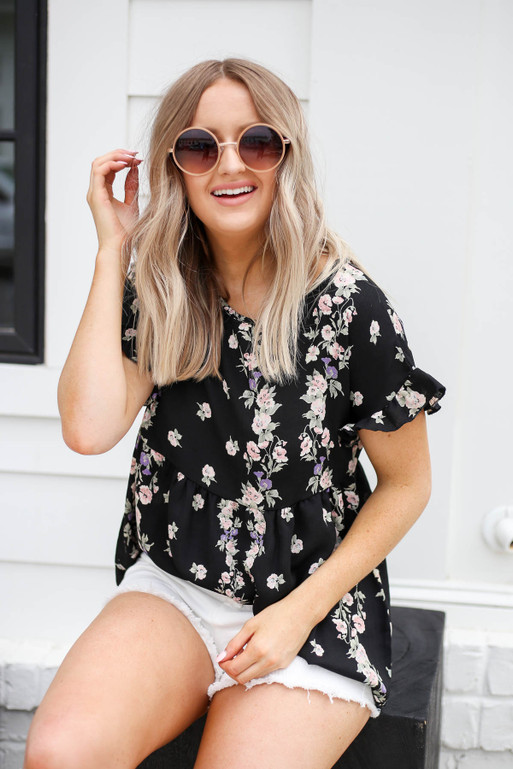 Black - Floral Babydoll Top
