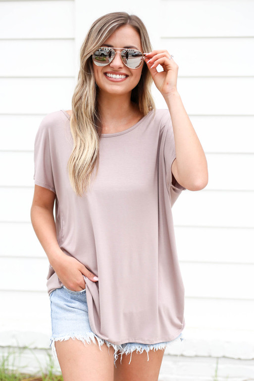 Taupe - Cross Back Tee Front View