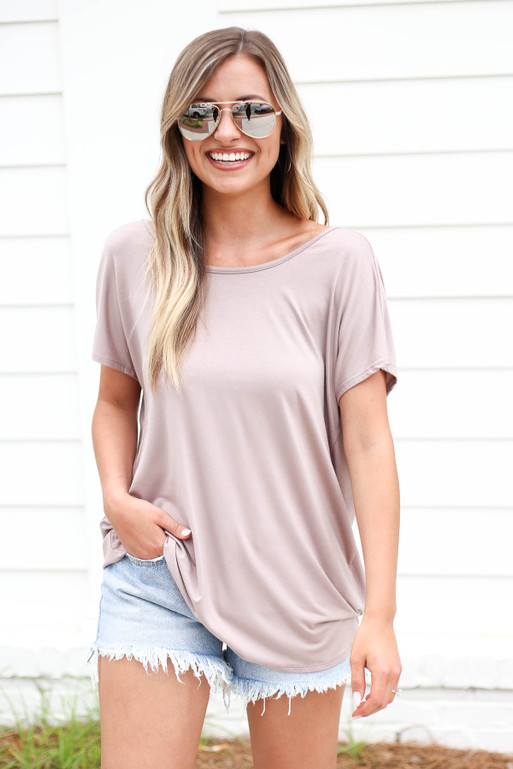 Model wearing Taupe Cross Back Tee Side View