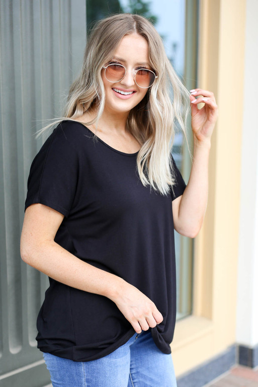 Black - Cross Back Tee Front View