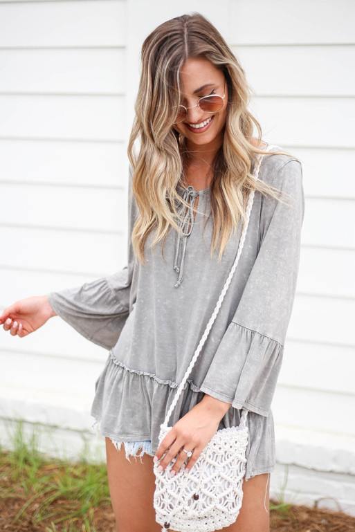 Grey - Ruffle Sleeve Acid Wash Top