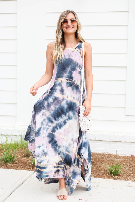 Purple - Sleeveless Tie Dye Maxi Dress Front View