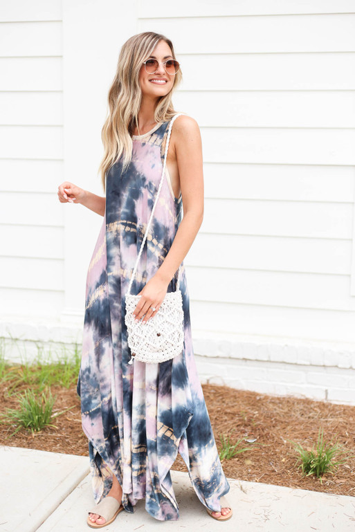 Purple - Sleeveless Tie Dye Maxi Dress Side View