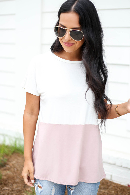Model wearing White and Pink Color Block Short Sleeve Tee Front View
