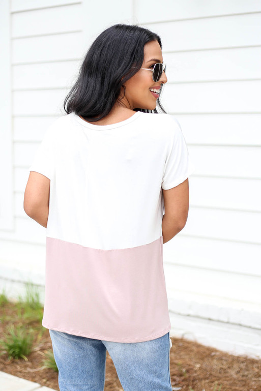 Model wearing White and Pink Color Block Short Sleeve Tee Back View