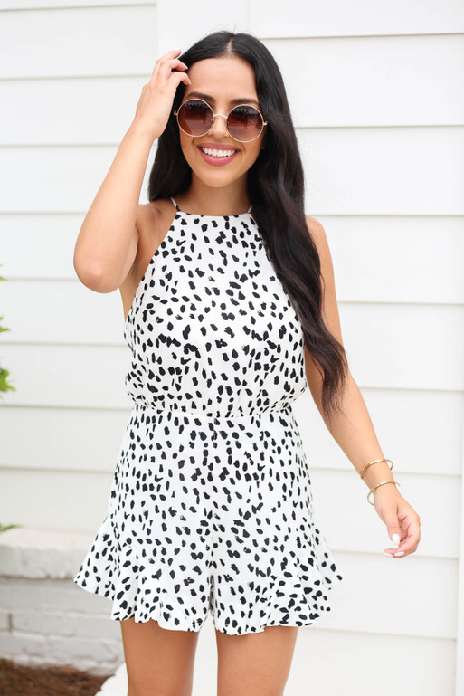 White - Spotted Ruffle Romper