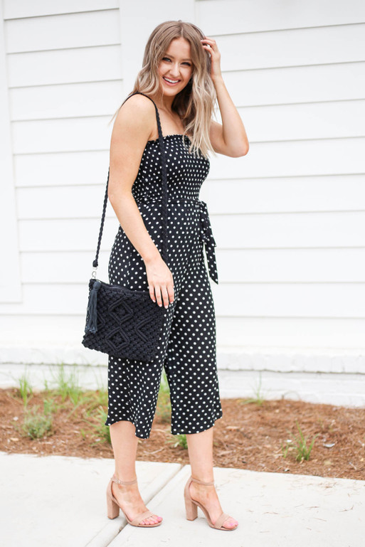 Black - Strapless Polka Dot Jumpsuit Side View