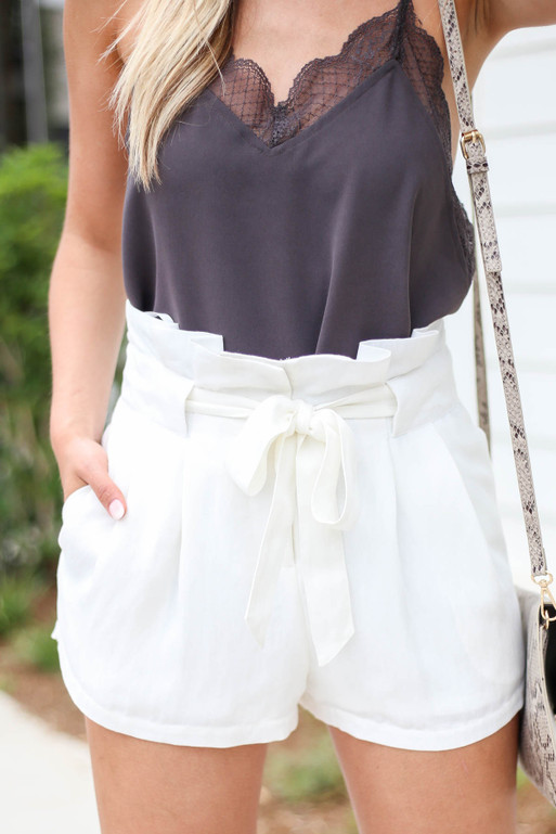 White - Paperbag Waist Belted Shorts Detail View