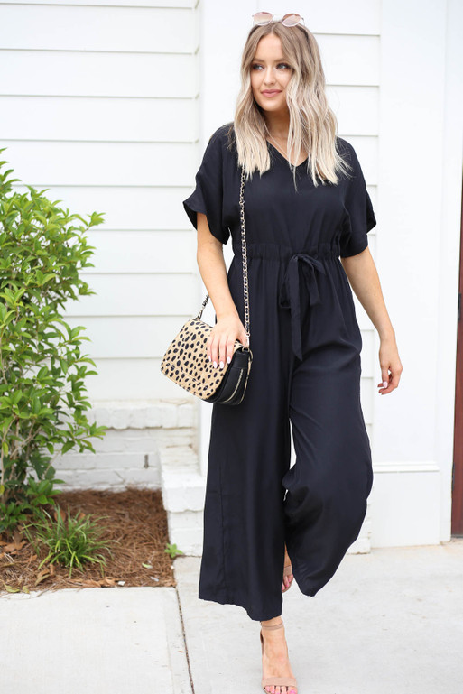 Black - Drawstring Waist Jumpsuit Front View