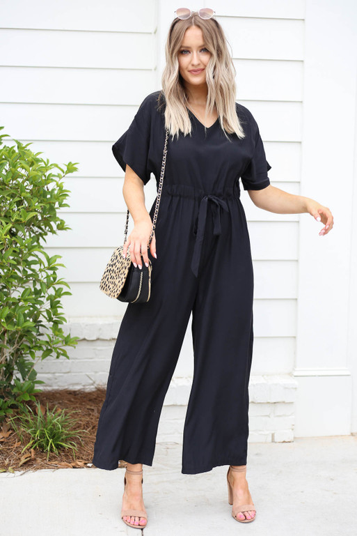 Black - Drawstring Waist Jumpsuit