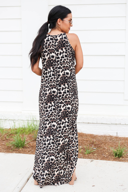 Model wearing Brown Leopard Print Sleeveless Maxi Dress Back View