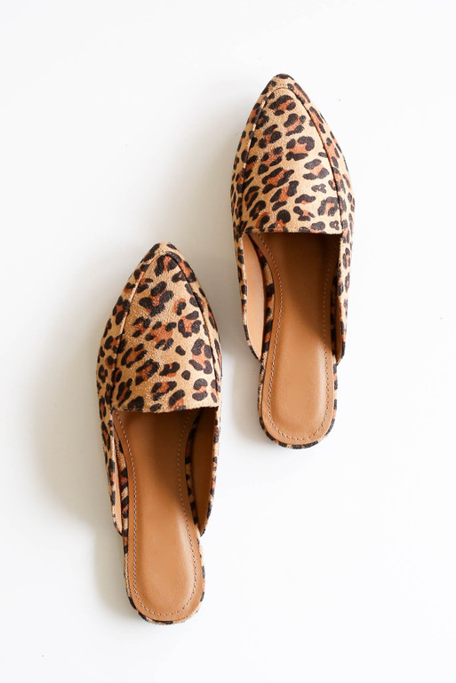 Flay Lay of Leopard Print Slip On Loafers