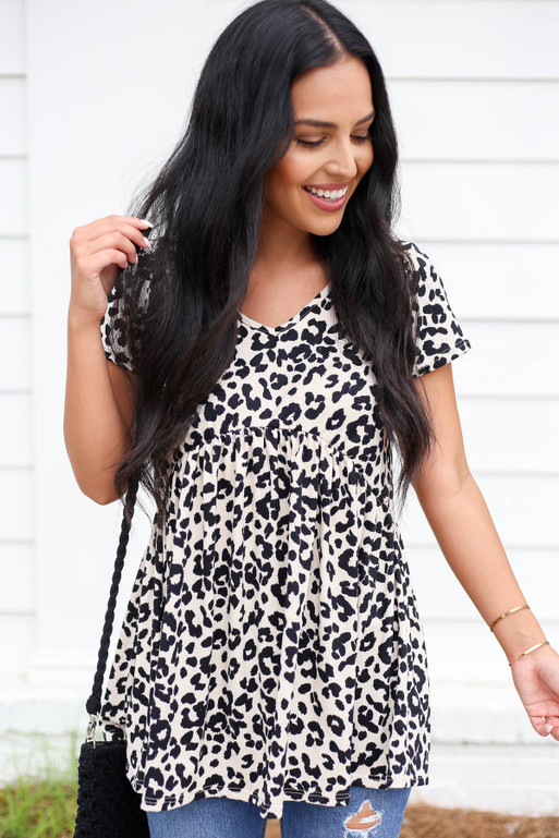 Model wearing Taupe Leopard Print Babydoll Top