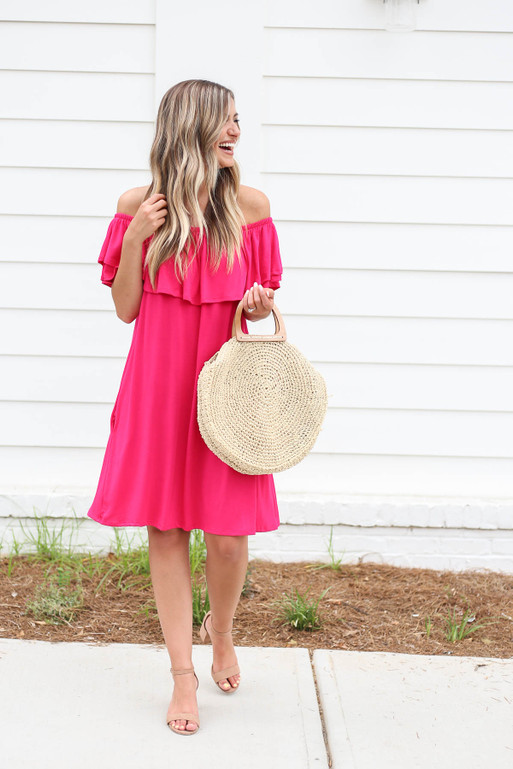 Neon Pink - Off the Shoulder Pocketed Mini Dress Full View