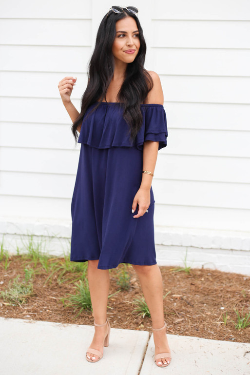 Navy - Off the Shoulder Pocketed Mini Dress Full View