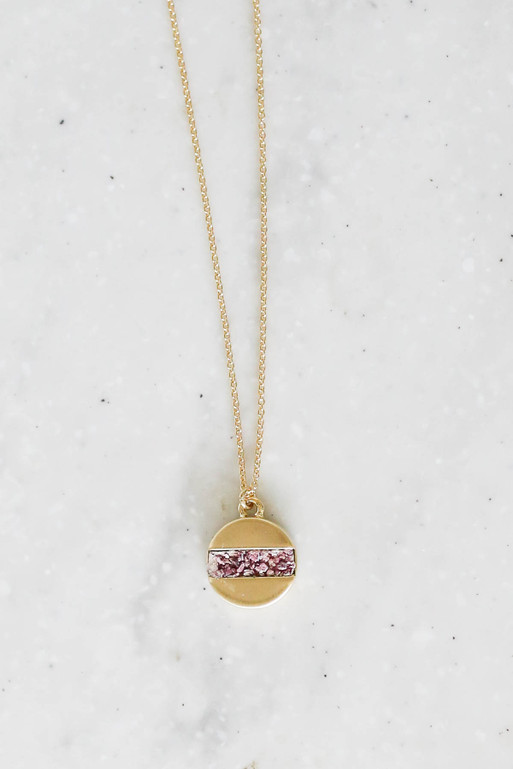 Pink - Stone Pendant Necklace Flat Lay