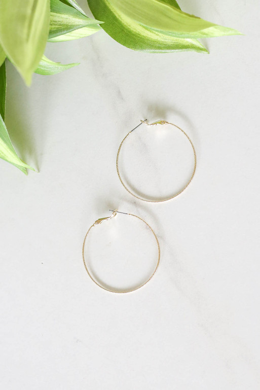Gold - Textured Twisted Hoop Earring Flat Lay