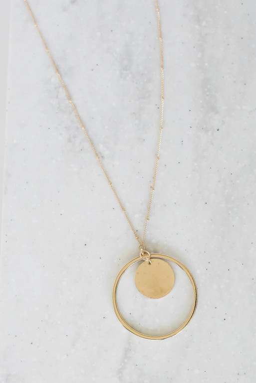 Gold - Circle Pendant Necklace Flat Lay