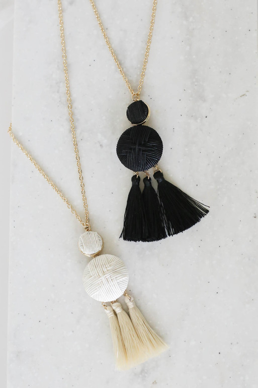 Ivory - And Black Woven Tassel Necklace Flat Lay