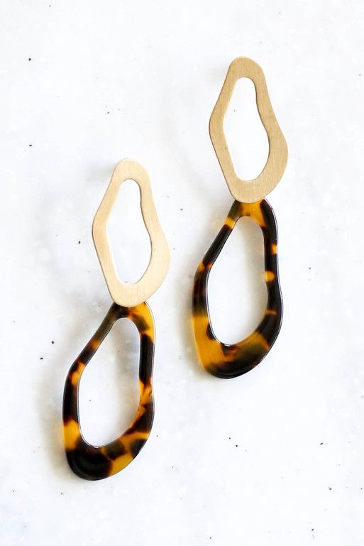 Tortoise - and Gold Acrylic Statement Earrings