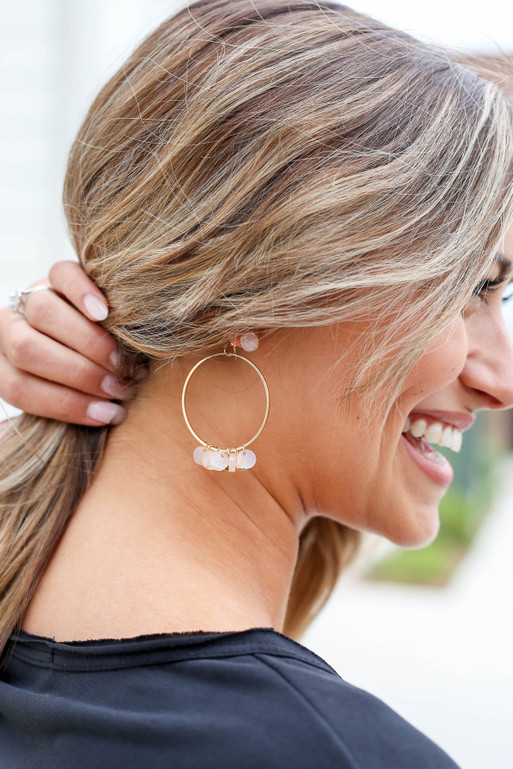 Blush - Charm Hoop Earrings on Model