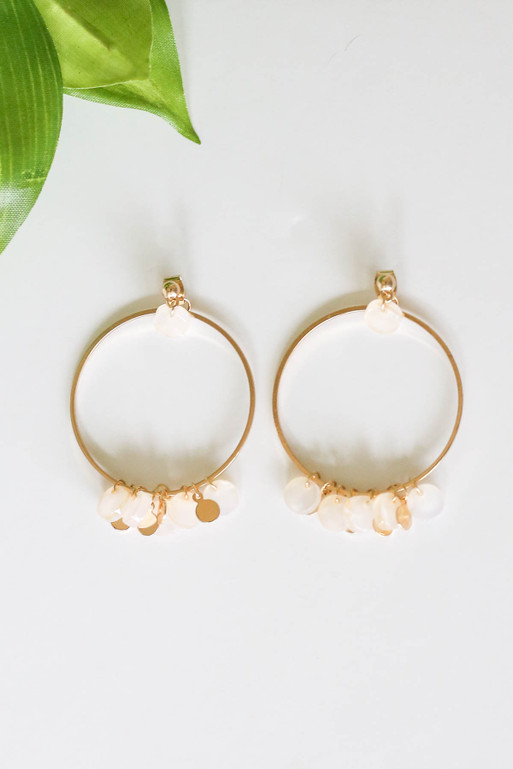 Blush - Charm Hoop Earrings Flat Lay