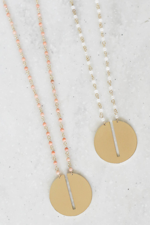 White - And Taupe Beaded Circle Necklace Flat Lay