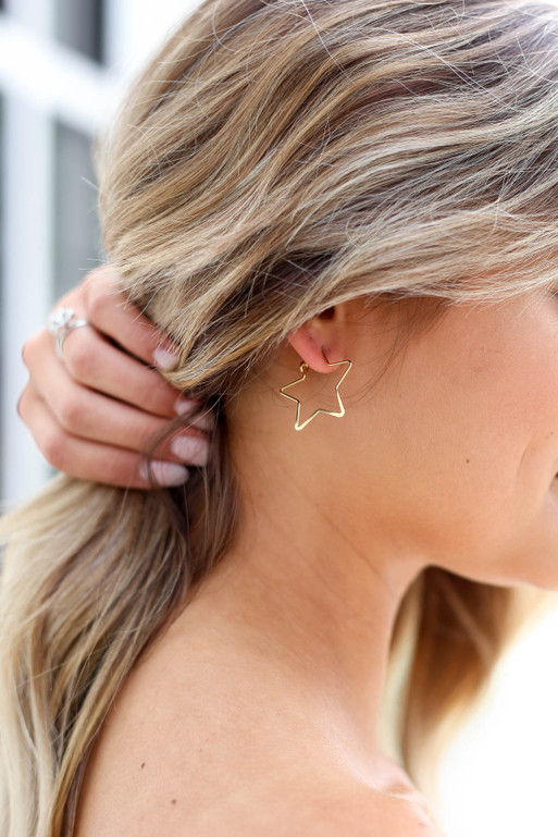 Gold - Star Shaped Hoops