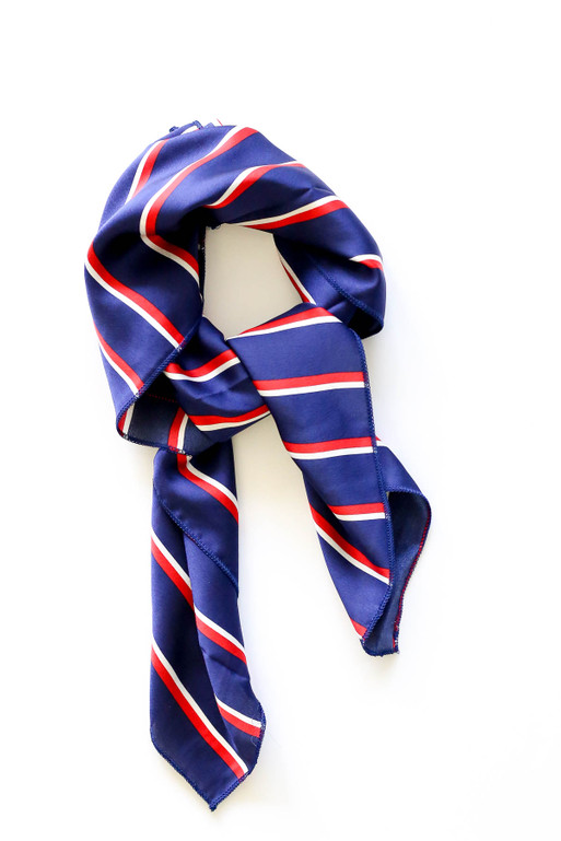Navy - Striped Satin Scarf Flat Lay