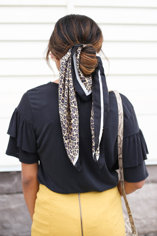 Taupe - Leopard Print Hair Scarf