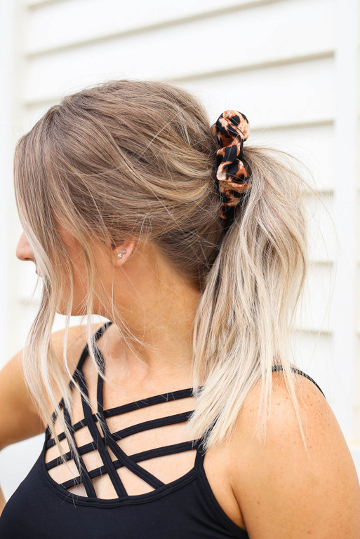 Leopard - Hair Scrunchie on Model