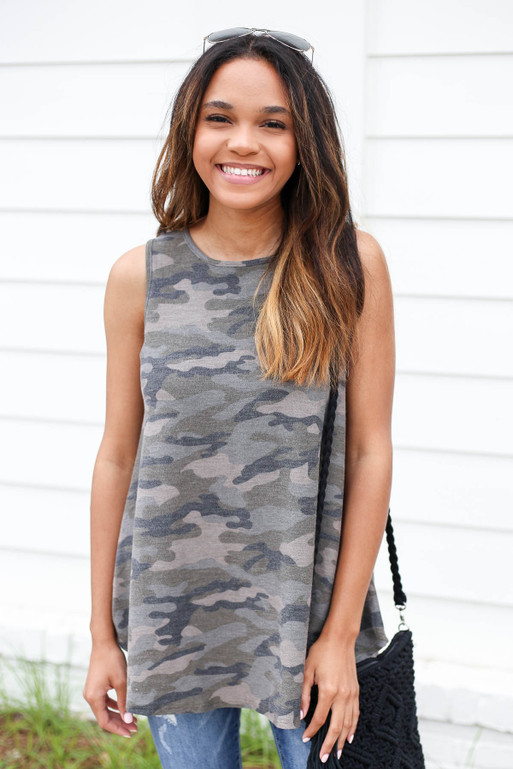 Camo - Knit Tank Front View