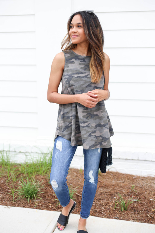 Camo - Knit Tank Top Full View