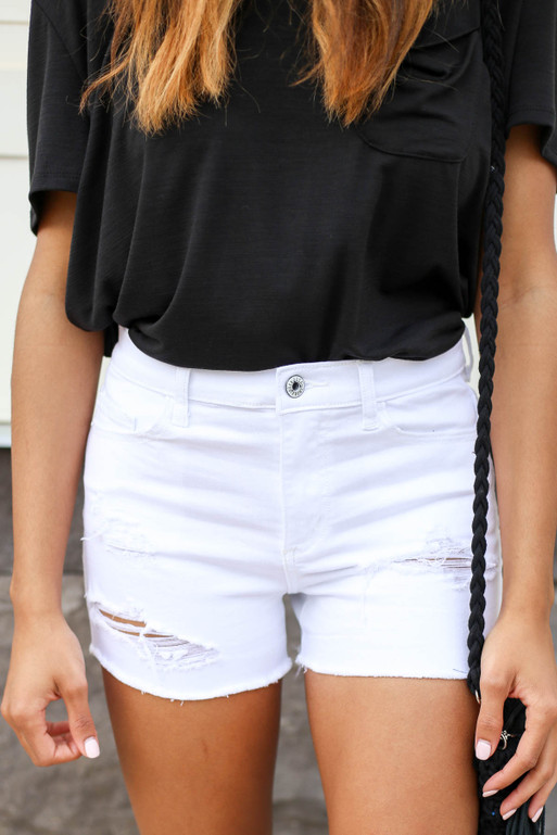 White - Distressed Denim Shorts Detail View