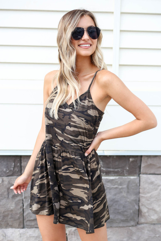 Camo - Printed Romper Side View