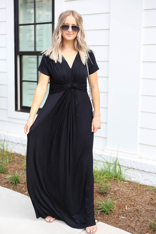 Black - Knotted Cotton Maxi Dress