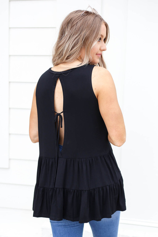Black - Tiered Open Back Tank Top Back View