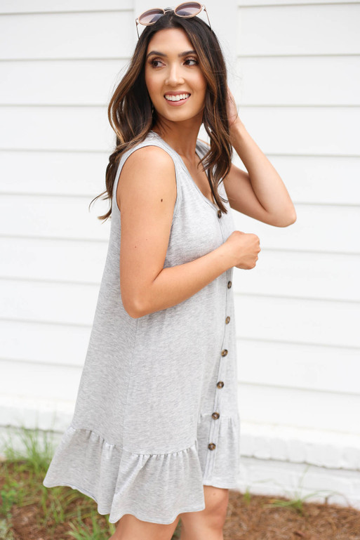 Heather Grey - Button Front Ruffle Dress Side View