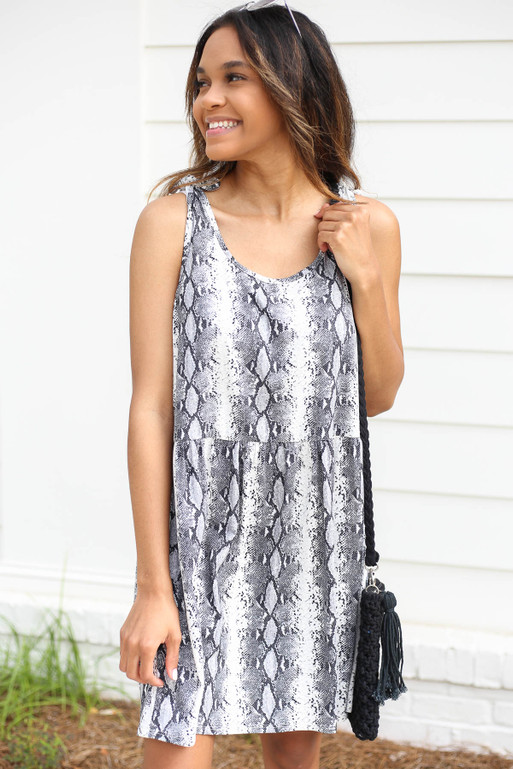 Grey - Snakeskin Tie Strap Babydoll Dress
