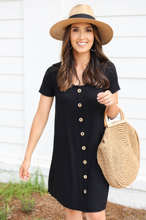 Black - Button Front Ribbed Mini Dress