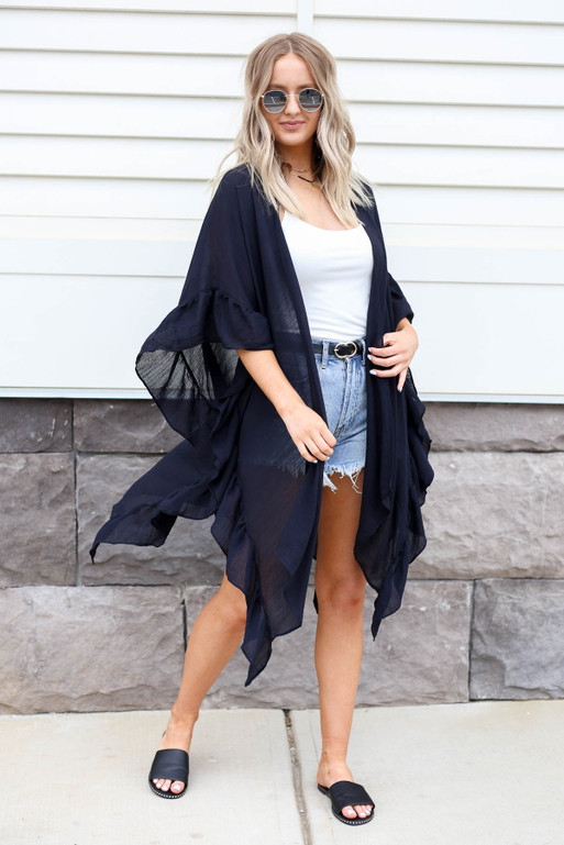 Black - Ruffled Oversized Kimono Full View