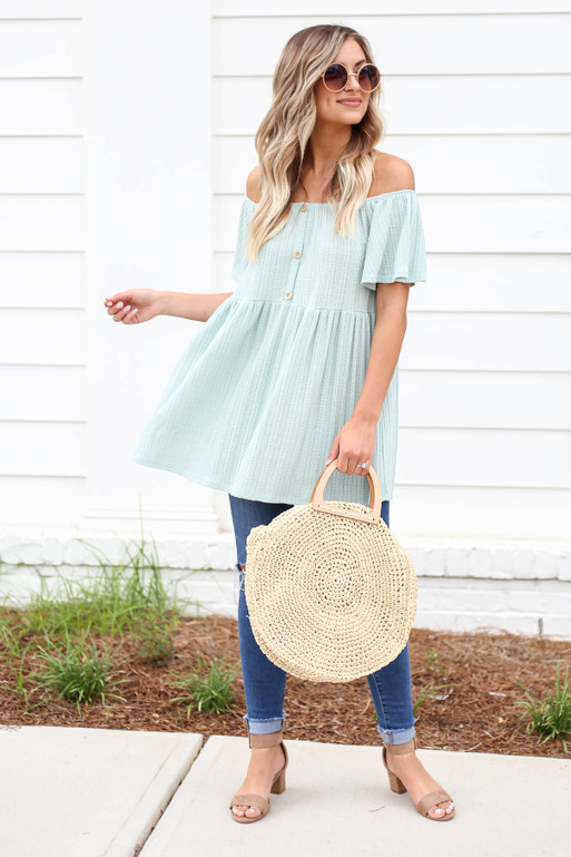 Mint - Off the Shoulder Knit Babydoll Top Full View