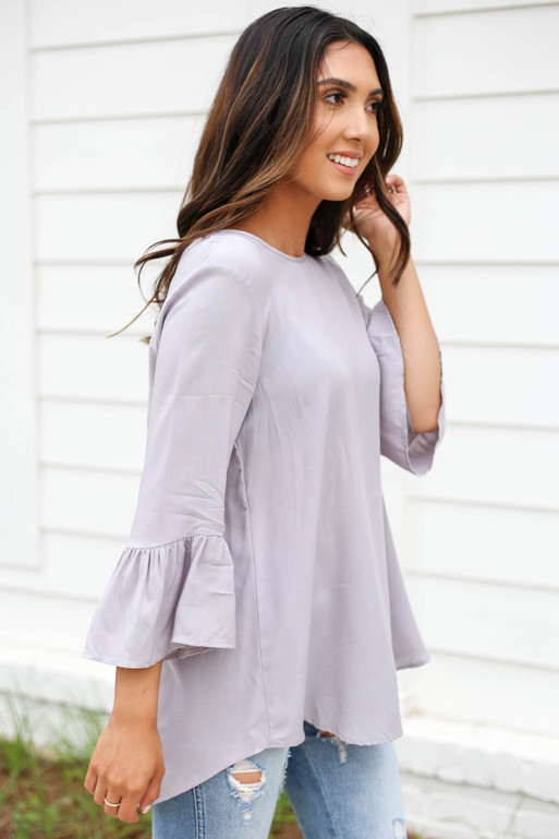 Grey - Ruffle Sleeve Blouse Side View
