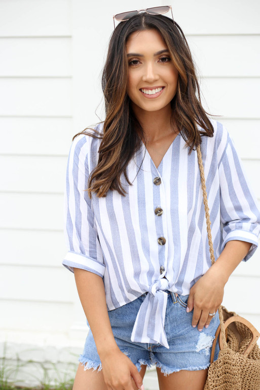 Navy - and White Striped Button Up Tie Front Blouse