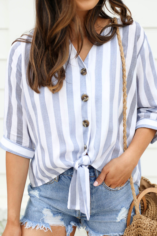 Navy - and White Striped Button Up Tie Front Blouse Detail View